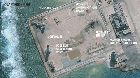 CSIS Asia Maritime Transparency Initiative/DigitalGlobe satellite image of construction of possible radar tower facilities in the Spratly Islands in the disputed South China Sea