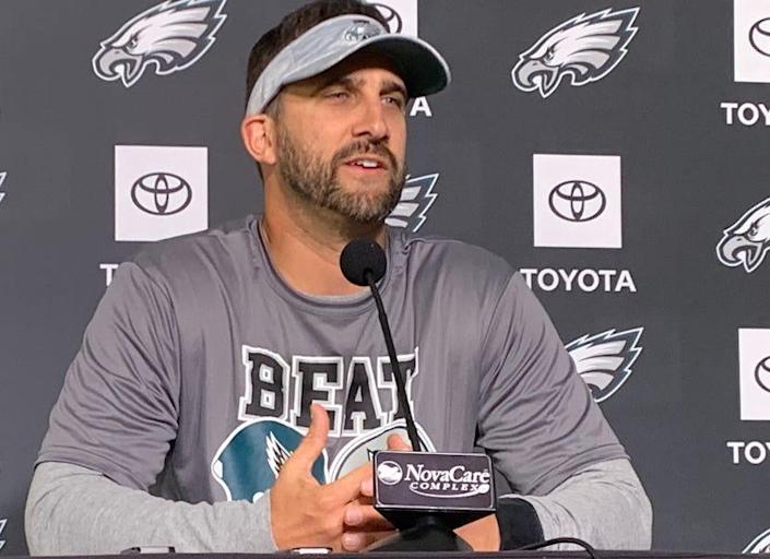 Eagles coach Nick Sirianni speaks to the media Thursday, Sept. 23, as his team prepares for its Monday night matchup against the Dallas Cowboys.