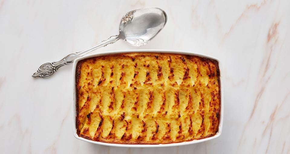 """If you've ever asked if mashed potatoes can be cooked ahead, the answer is this recipe. The texture is like that of a twice-baked potato. <a href=""""https://www.bonappetit.com/recipe/duchess-baked-potatoes?mbid=synd_yahoo_rss"""" rel=""""nofollow noopener"""" target=""""_blank"""" data-ylk=""""slk:See recipe."""" class=""""link rapid-noclick-resp"""">See recipe.</a>"""