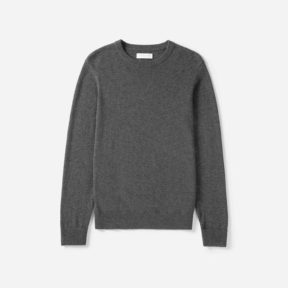 """<p><strong>everlane</strong></p><p>everlane.com</p><p><strong>$130.00</strong></p><p><a href=""""https://go.redirectingat.com?id=74968X1596630&url=https%3A%2F%2Fwww.everlane.com%2Fproducts%2Fmens-cashmere-crew3-charcoal&sref=https%3A%2F%2Fwww.countryliving.com%2Fshopping%2Fg5104%2Fvalentines-day-gifts-for-him%2F"""" rel=""""nofollow noopener"""" target=""""_blank"""" data-ylk=""""slk:Shop Now"""" class=""""link rapid-noclick-resp"""">Shop Now</a></p><p>This cashmere sweater—available in 13 colors—will be a welcome addition to his closet.</p>"""