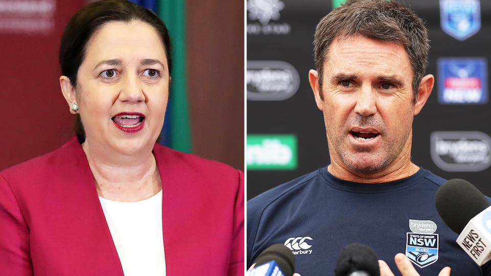 Annastacia Palaszczuk and Brad Fittler, pictured here discussing the 2020 State of Origin series.
