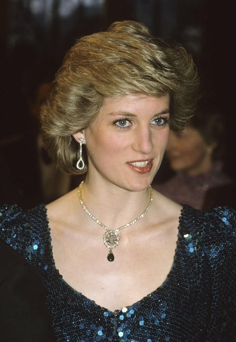 VIENNA, AUSTRIA - OCTOBER 14: (FILE PHOTO) Princess Diana, Princess of Wales attends a gala at the Vienna Burgh Theatre on October 14, 1986 in Vienna, Austria. The Duchess of Cornwall has been wearing the brooch originally worn by Prince Charles' first wife, Diana Princess of Wales, the diamond brooch dates back to 1863 and was originally a wedding gift for King Edward VII. Camilla wore the brooch at the royal premiere of Alan Bennett's The History Boys. (Photo by Anwar Hussein Collection/Getty Images)