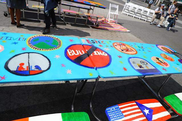 <p>The anti-bullying table art is on display as part of the LEAP Public Art Program's citywide exhibition in New York City on June 5, 2018. (Photo: Gordon Donovan/Yahoo News) </p>