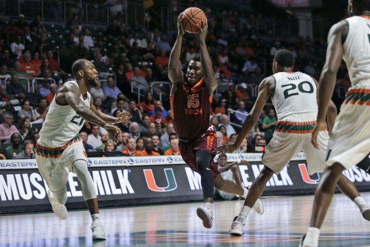 Clarke drives through the lane during a February loss at Miami. (AP)