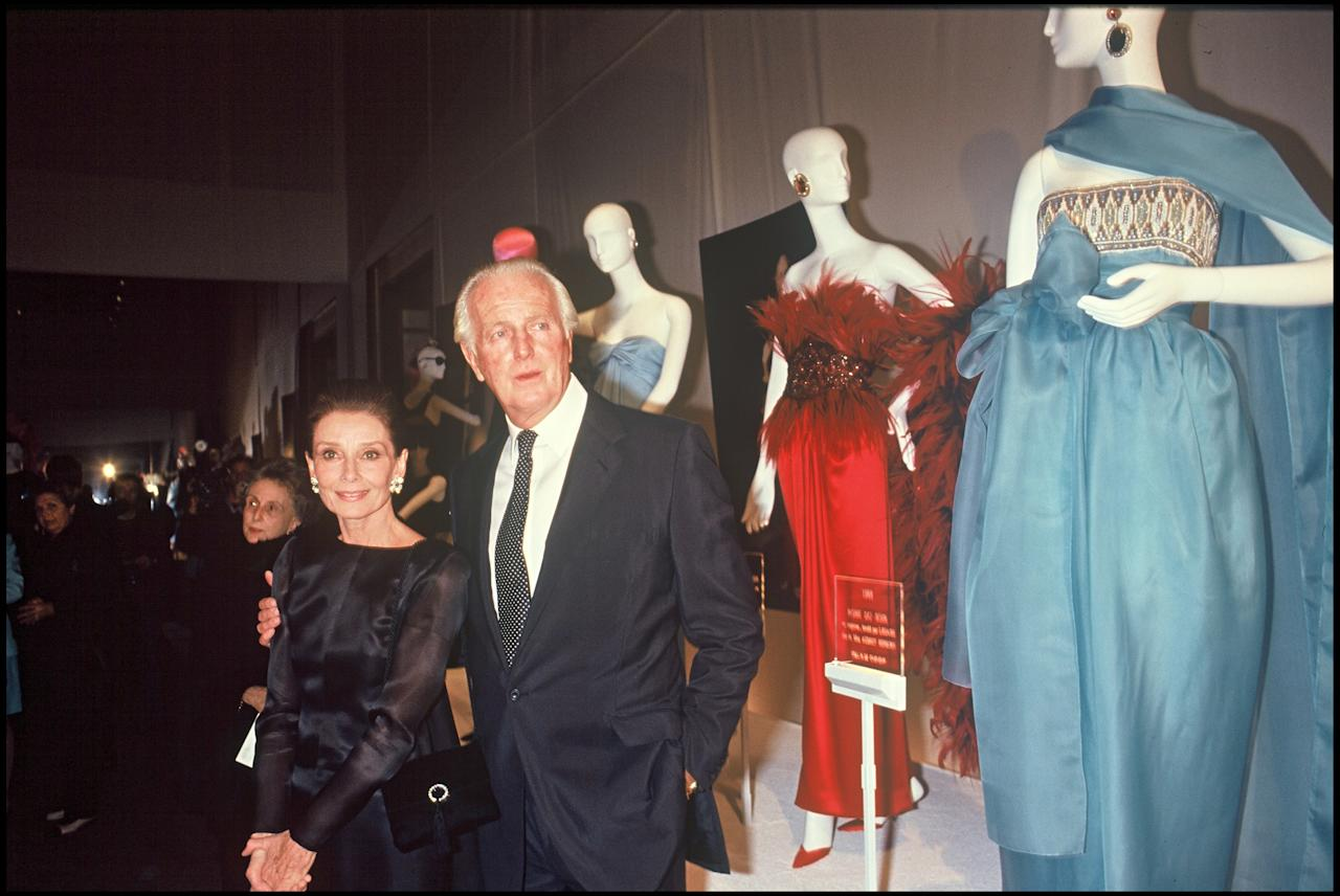<p>Hepburn and Givenchy at the 40th anniversary of the house of Givenchy in Paris in 1991. (Photo: Getty Images) </p>