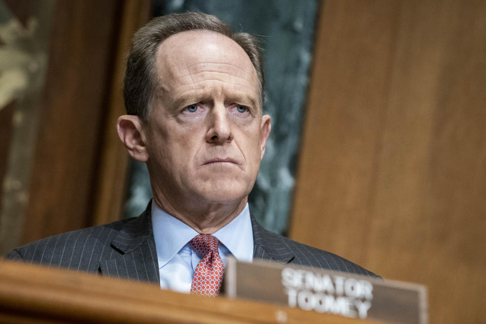 Sen. Pat Toomey, R-Pa., questions Treasury Secretary Steven Mnuchin during a Congressional Oversight Commission hearing on Capitol Hill in Washington, Thursday Dec. 10, 2020. (Sarah Silbiger/The Washington Post via AP, Pool)