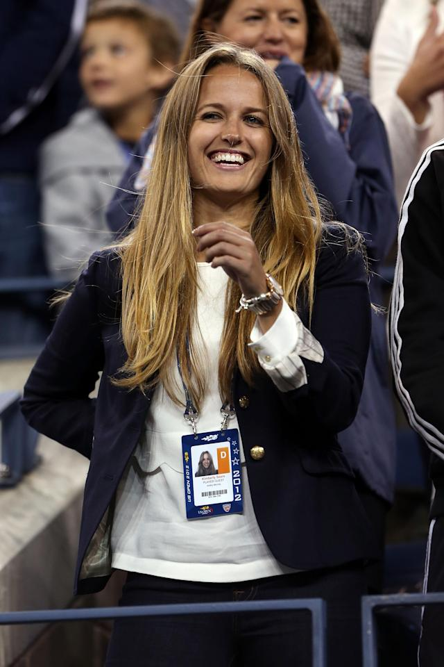 NEW YORK, NY - SEPTEMBER 10: Kim Sears, the girlfriend of Andy Murray of Great Britain smiles following his victory against Novak Djokovic of Serbia in the men's singles final match on Day Fifteen of the 2012 US Open at USTA Billie Jean King National Tennis Center on September 10, 2012 in the Flushing neighborhood of the Queens borough of New York City. Murray defeated Djokovic 7-6, 7-5, 2-6, 3-6, 6-2. (Photo by Matthew Stockman/Getty Images)