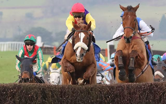 <span>Native River leads the chasing pack and goes on to win the Welsh Grand National at Chepstow</span> <span>Credit: Huw Evans/REX/Shutterstock </span>