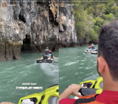 The couple further inflamed many by sharing photos of them riding the jetski during their business trip
