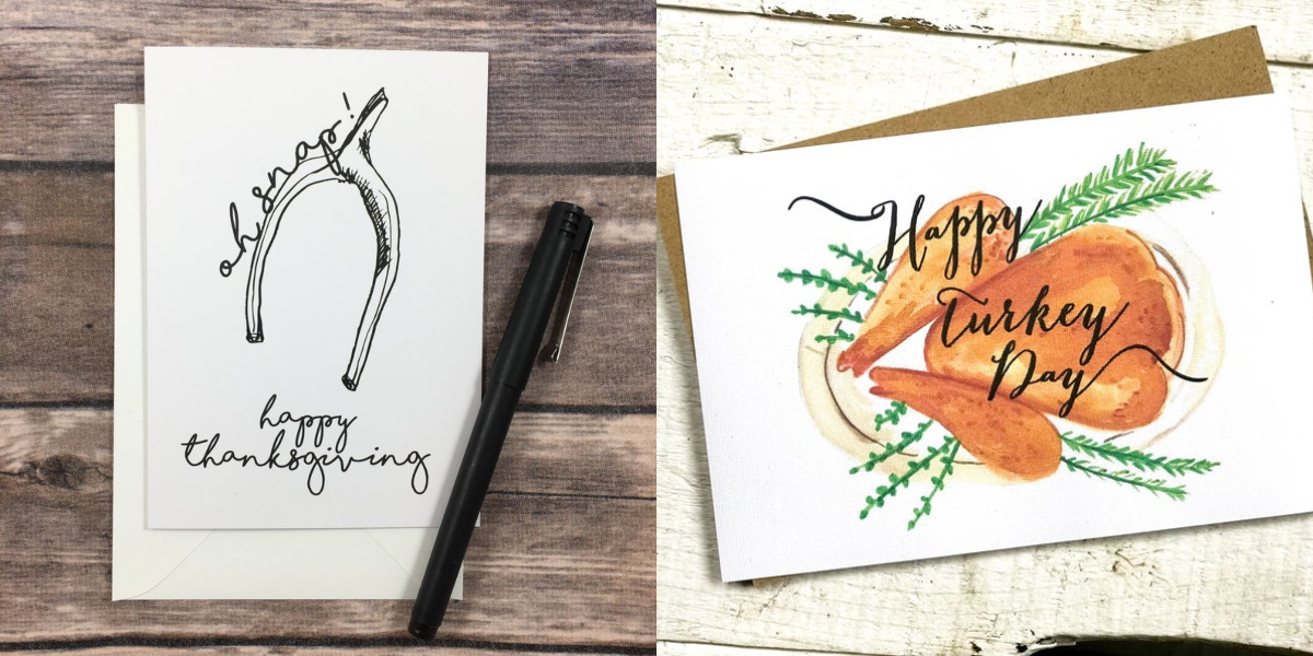 "<p>When the holidays come around, everyone looks forward to getting some thoughtful snail mail. And you might not even realize it while you're out shopping for <a href=""https://www.housebeautiful.com/entertaining/holidays-celebrations/g3914/christmas-card-ideas/"" target=""_blank"">Christmas cards</a>, but Thanksgiving cards actually <em>do</em> exist—and they're pretty fun, too. Whether you're looking to mail out Thanksgiving-themed cards this year, or want to share how grateful you are with <a href=""https://www.housebeautiful.com/entertaining/holidays-celebrations/g22701307/thanksgiving-gifts/"" target=""_blank"">your Thanksgiving dinner hosts</a> and other loved ones, these festive notes will make them smile, guaranteed. </p><p>From personalized, hand-painted cards to punny illustrations and even some pop culture references (is it Thanksgiving without a <em>Friends</em> reference?)<em></em>, these are the best ones you can send this year.</p>"