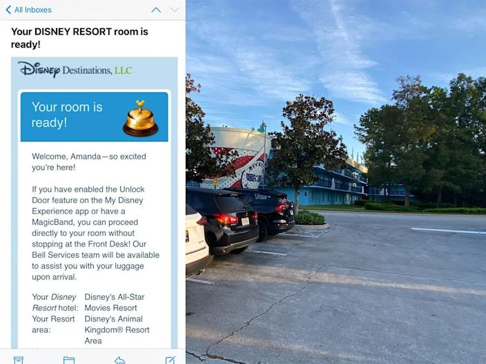 A hotel check-in screenshot and a view of Disney's All-Star Movies Resort parking lot.