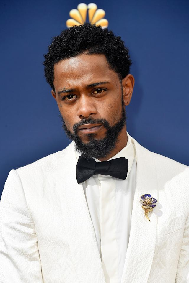 Lakeith Stanfield's perfect Ermenegildo Zegna Couture tuxedo and unflappable confidence won the Emmy Awards red carpet, but his A+ grooming game certainly didn't hurt matters. Like most guys, Stanfield went a little more polished with his hair that night, with perfectly twisted and defined ends and a hard, diagonal part. It worked.