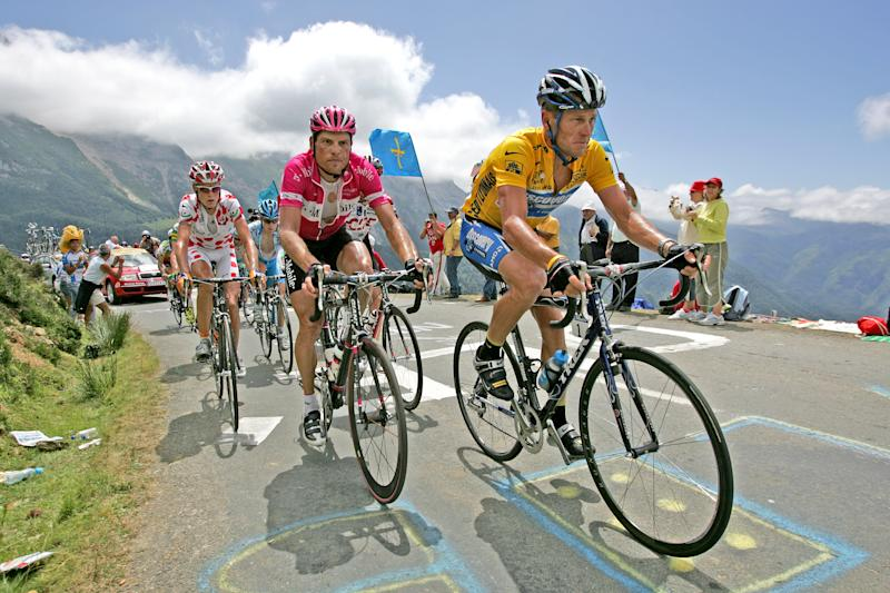 Lance Armstrong (right) and Jan Ullrich in competition. (Courtesy ESPN)