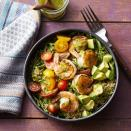 <p>These shrimp, pesto and quinoa bowls are delicious, healthy, pretty and take less than 30 minutes to prep. In other words, they're basically the ultimate easy weeknight dinner. Feel free to add additional vegetables and swap the shrimp for chicken, steak, tofu or edamame.</p>