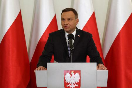 Poland's President Andrzej Duda speaks during his media announcement regarding judiciary reform at Presidential Palace in Warsaw