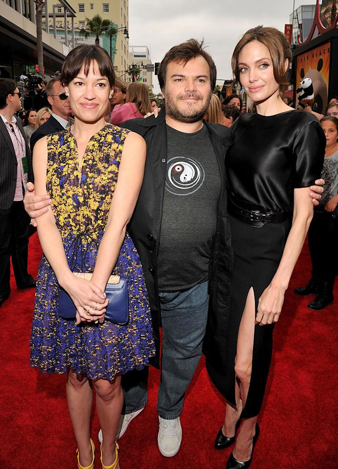 "Tanya Haden, <a href=""http://movies.yahoo.com/movie/contributor/1800180457"">Jack Black</a> and <a href=""http://movies.yahoo.com/movie/contributor/1800019275"">Angelina Jolie</a> attend the Los Angeles premiere of <a href=""http://movies.yahoo.com/movie/1810090593/info"">Kung Fu Panda 2</a> on May 22, 2011."