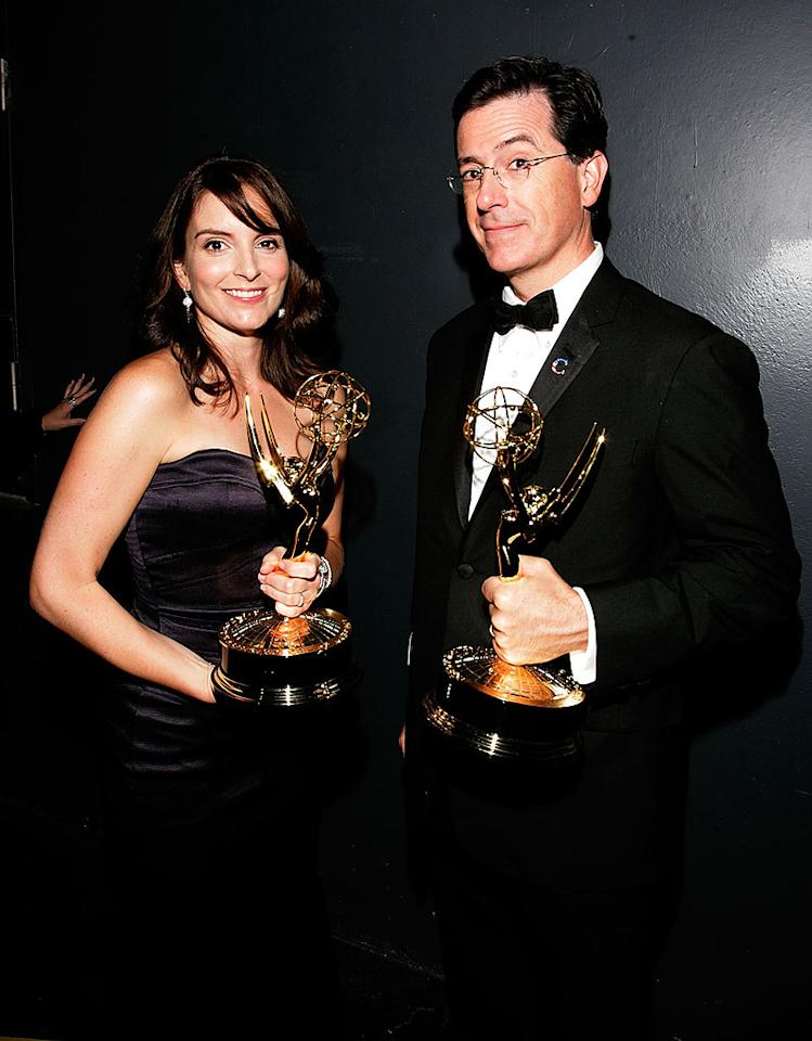 """Comedians Tina Fey (""""30 Rock"""") and Stephen Colbert (""""The Colbert Report"""") showed off their golden statuettes at the gala event. Mathew Imaging/<a href=""""http://www.wireimage.com"""" target=""""new"""">WireImage.com</a> - September 21, 2008"""