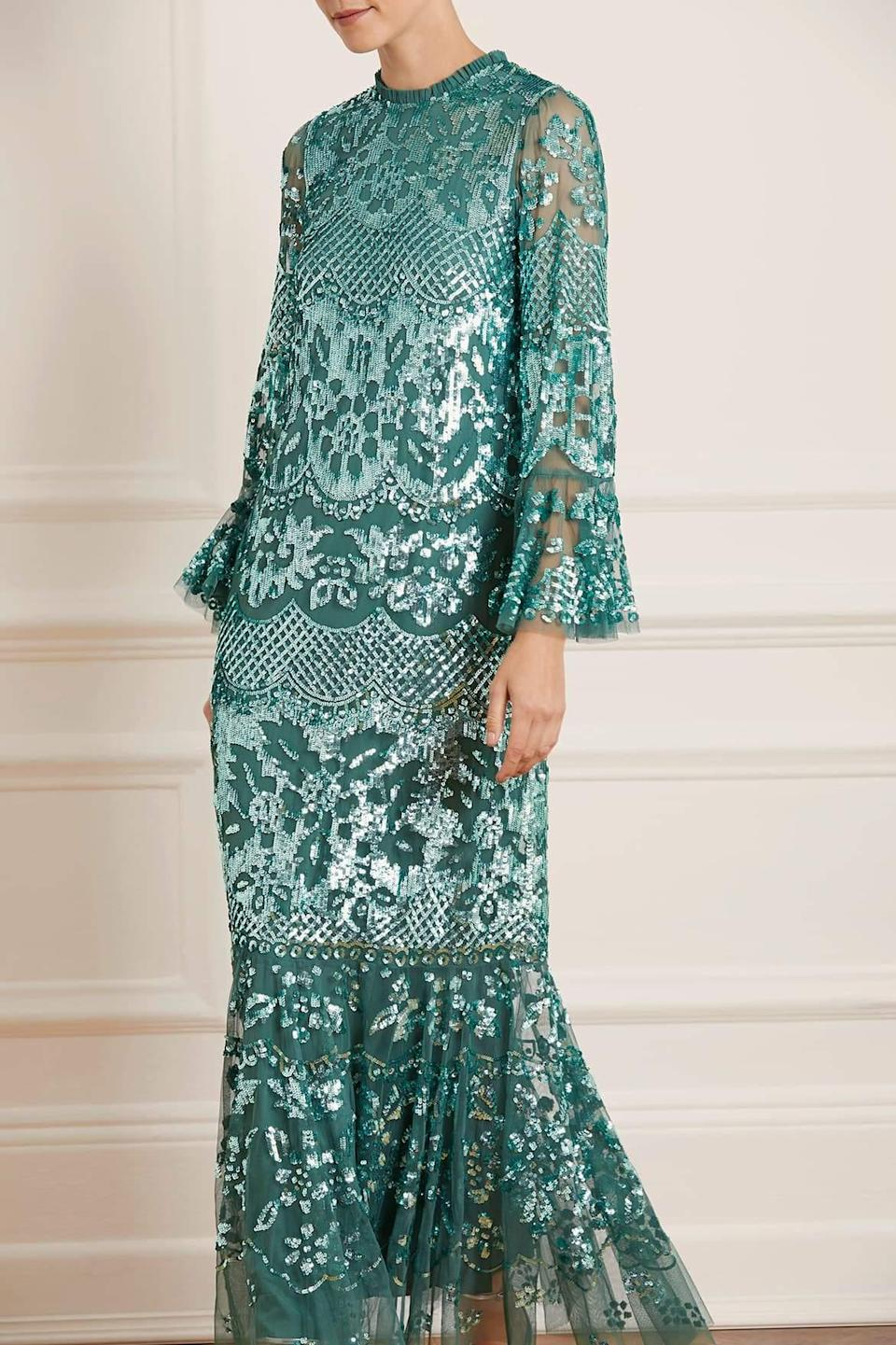"""<h2>Needle & Thread Snowdrop Gown In Teal</h2><br>A shimmering, near-iridescent shade of sea-glass green adds a third dimension to this 1930s-inspired lace dress.<br><br><em>Shop <strong><a href=""""https://us.needleandthread.com/"""" rel=""""nofollow noopener"""" target=""""_blank"""" data-ylk=""""slk:Needle and Thread"""" class=""""link rapid-noclick-resp"""">Needle and Thread</a></strong></em><br><br><strong>Needle & Thread</strong> Snowdrop Gown, $, available at <a href=""""https://go.skimresources.com/?id=30283X879131&url=https%3A%2F%2Fus.needleandthread.com%2Fproducts%2Fsnowdrop-gown-botlle-green"""" rel=""""nofollow noopener"""" target=""""_blank"""" data-ylk=""""slk:Needle & Thread"""" class=""""link rapid-noclick-resp"""">Needle & Thread</a>"""