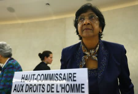 U.N. High Commissioner for Human Rights Pillay arrives for the 21st Special Session of the Human Rights Council in Geneva