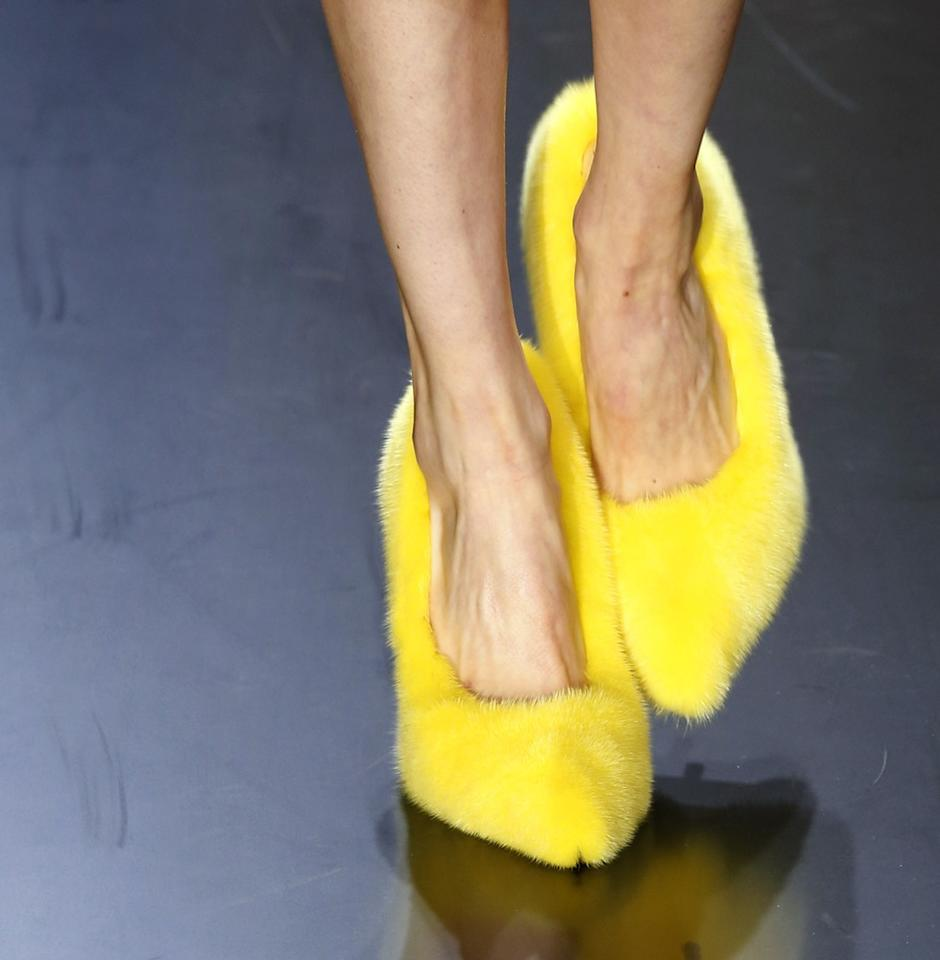 French label Celine debuted several furry shoes for their Spring 2013 collection. We might wear these neon yellow fuzzies . . .