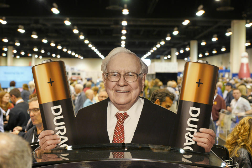 A cutout of Berkshire Hathaway Chairman and CEO Warren Buffett advertises Duracell Batteries during a shareholders shopping day in Omaha, Neb., Friday, May 3, 2019. An estimated 40,000 people are expected in town for the annual shareholders meeting on Saturday, where Chairman and CEO Warren Buffett and Vice Chairman Charlie Munger will preside over the meeting and spend hours answering questions. (AP Photo/Nati Harnik)