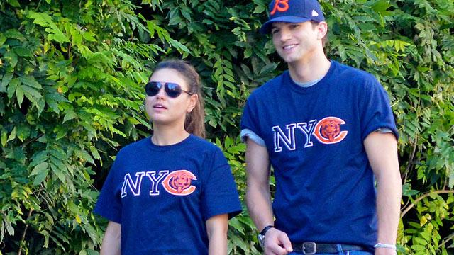 Ashton Kutcher & Mila Kunis: A Match Made in Chicago Bears Tees