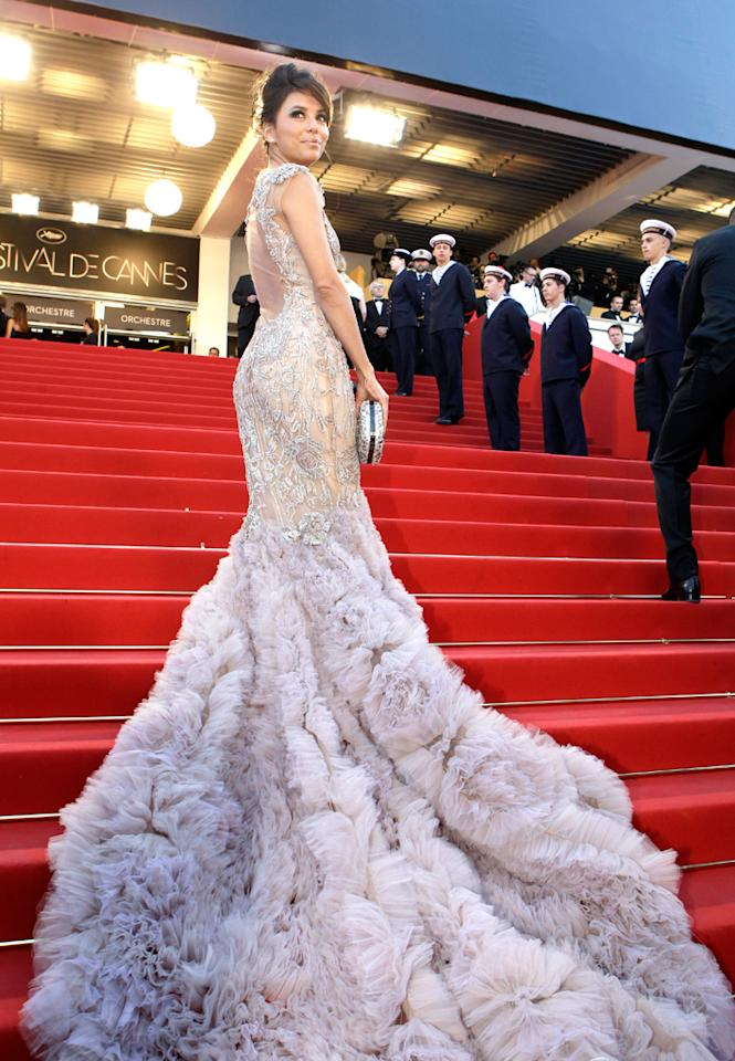 "Eva Longoria arrives for the opening ceremony and screening of ""Moonrise  Kingdom"" at the 65th Annual Cannes Film Festival on May 16, 2012."