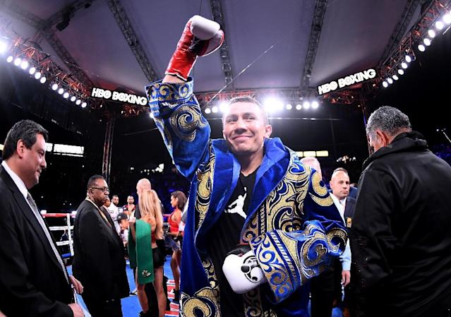 Gennady Golovkin ended the fight with a vicious series of right and left combinations that floored the heavy underdog Vanes Martirosyan (AFP Photo/Harry How)
