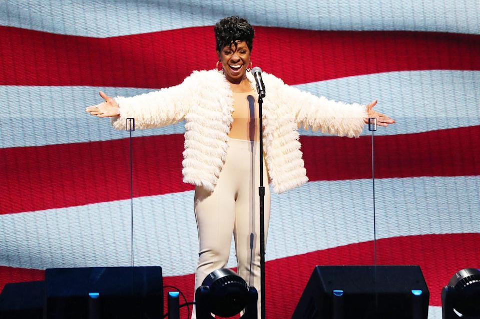 <p>Gladys Knight performs the National Anthem before the 70th NBA All Star game on Sunday at the State Farm Arena in Atlanta.</p>