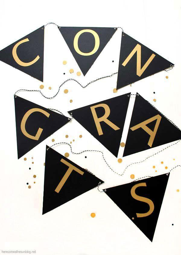 "<p>To make this graduation banner that's ideal for a photo backdrop or to hang on a mantel, you'll need your Silhouette or Cricut maker. </p><p><strong>Get the tutorial at <a href=""https://kellyleighcreates.com/diy-graduation-banner/"" rel=""nofollow noopener"" target=""_blank"" data-ylk=""slk:Kelly Leigh Creates"" class=""link rapid-noclick-resp"">Kelly Leigh Creates</a>.</strong></p><p><a class=""link rapid-noclick-resp"" href=""https://go.redirectingat.com?id=74968X1596630&url=https%3A%2F%2Fwww.walmart.com%2Fip%2FJust-Artifacts-ECO-Bakers-Twine-240yd-4Ply-Striped-Black-Decorative-Bakers-Twine-for-DIY-Crafts-and-Gift-Wrapping%2F845981088&sref=https%3A%2F%2Fwww.thepioneerwoman.com%2Fhome-lifestyle%2Fentertaining%2Fg36014713%2Fgraduation-party-ideas%2F"" rel=""nofollow noopener"" target=""_blank"" data-ylk=""slk:SHOP BAKERS TWINE"">SHOP BAKERS TWINE</a></p>"