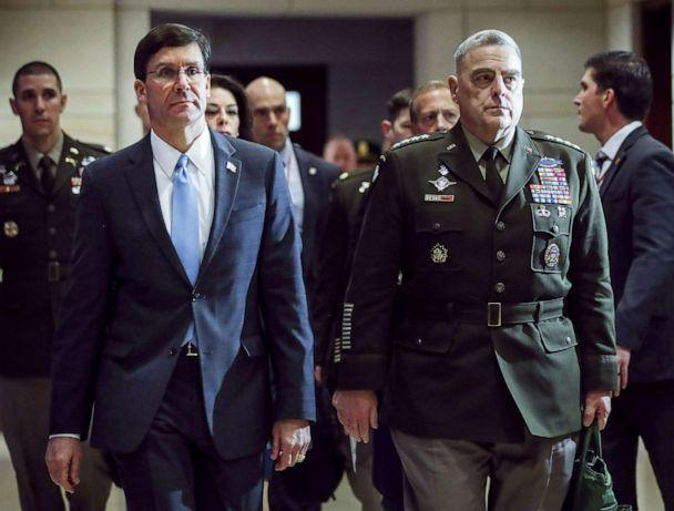 PHOTO: File photo, (L-R) Secretary of Defense Mark Esper and Chair of the Joint Chiefs of Staff Mark Milley arriving for briefing with members of the House of Representatives about the situation with Iran, at the Capitol on Jan. 8, 2020 in Washington. (Drew Angerer/Getty Images, FILE)