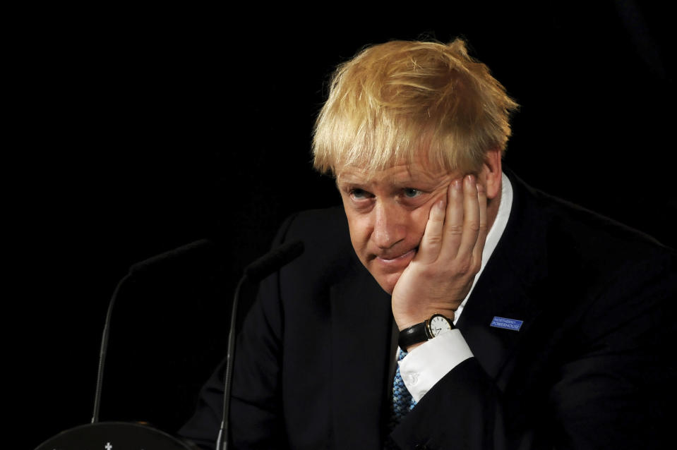 """Britain's Prime Minister Boris Johnson reacts during a speech on domestic priorities at the Science and Industry Museum in Manchester, northwest England on July 27, 2019. - British Prime Minister Boris Johnson on Saturday said Brexit was a """"massive economic opportunity"""" but had been treated under his predecessor Theresa May as """"an impending adverse weather event"""". Photo: RUI VIEIRA/AFP/Getty Images"""