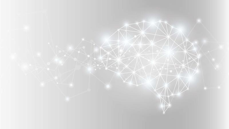 Grey background with graphic image of connected lights in shape of human brain