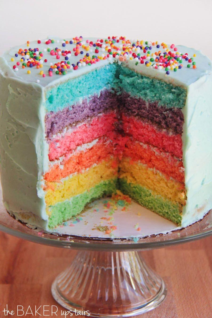 """<p>Somewhere over the rainbow are REALLY pretty cakes.</p><p>Get the recipe from <a href=""""http://www.thebakerupstairs.com/2014/03/six-layer-rainbow-cake.html"""" rel=""""nofollow noopener"""" target=""""_blank"""" data-ylk=""""slk:The Baker Upstairs"""" class=""""link rapid-noclick-resp"""">The Baker Upstairs</a>.</p>"""