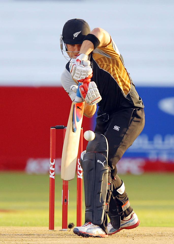 DURBAN, SOUTH AFRICA - DECEMBER 21:   Brendon McCullum  during the 1st T20 match between South Africa and New Zealand at Sahara Park Kingsmead on December 21, 2012 in Durban, South Africa.  (Photo by Anesh Debiky/Gallo Images/Getty Images)
