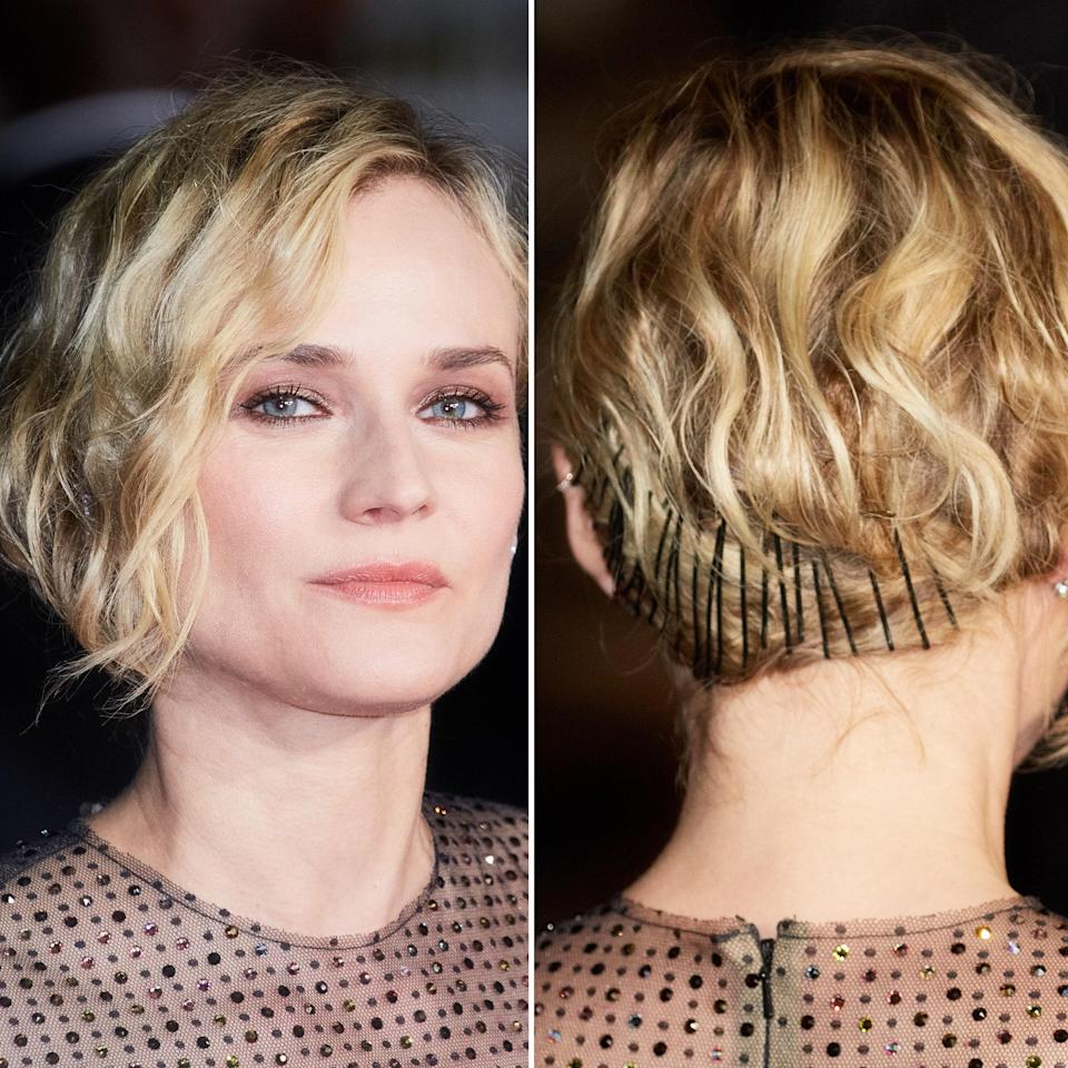 If you've got a chin-length bob, there's nothing wrong with wearing it that way for your wedding day. But if you'd like to go for something a little different, Diane Kruger's style still allows your hair to frame your face, while providing visual interest in the back with a tightly-laid track of bobby pins moving around the back of the head. This would look gorgeous with rhinestone, crystal, or pearl-studded pins, too.