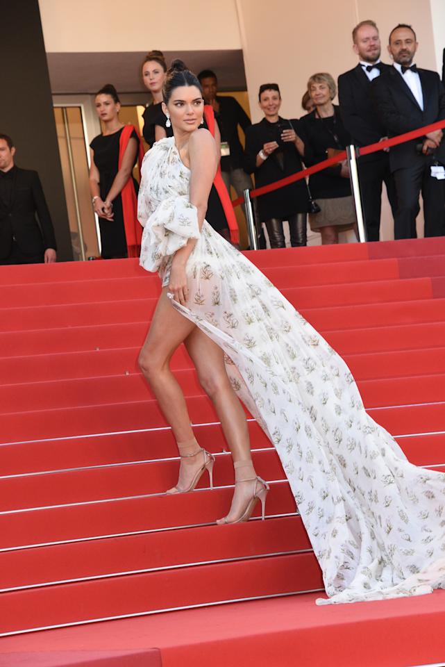 """Kendall Jenner walking up the red carpet at the """"120 Beats Per Minute"""" screening at the 70th annual Cannes Film Festival in May 2017."""