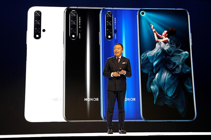 President of Huawei's Honor brand, George Zhao, launches the Honor 20 range of smartphones at an event in London, Britain, May 21, 2019. REUTERS/Peter Nicholls