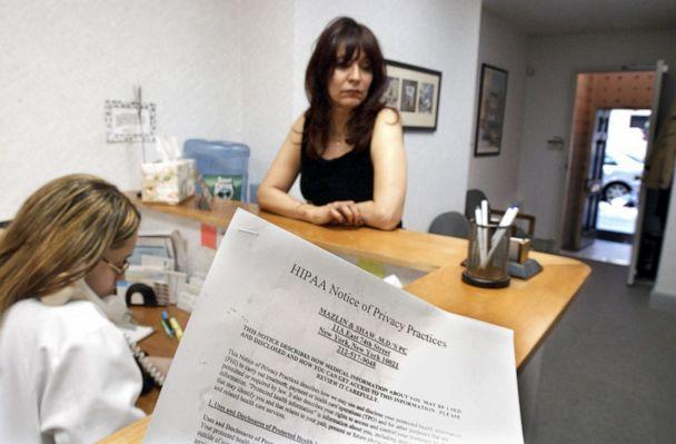 PHOTO: A HIPAA privacy notice is made available at a doctor's office in New York, May 2, 2003. (Bebeto Matthews/AP, FILE)