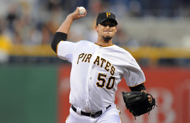 Pittsburgh Pirates starting pitcher Charlie Morton (50) delivers a pitch against the Milwaukee Brewers during the first inning of a baseball game on Wednesday, Aug. 28, 2013, in Pittsburgh. (AP Photo/Don Wright)