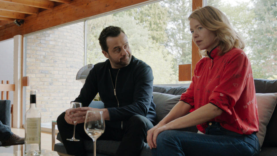Daniel Mays and Anna Maxwell Martin in 'Code 404'. (Credit: Sky)