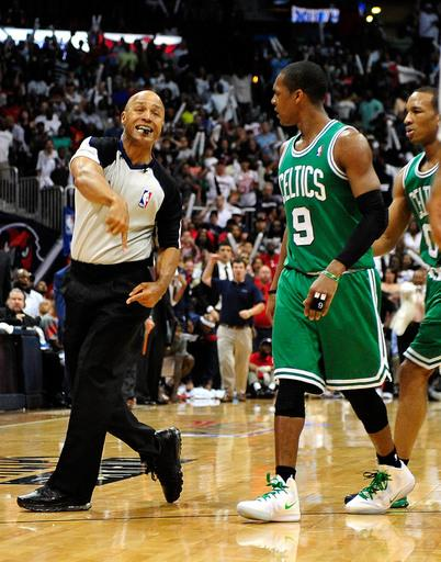 ATLANTA, GA - APRIL 29:  Official Marc Davis #8 ejects Rajon Rando #9 of the Boston Celtics in the closing minutes of a loss to the Atlanta Hawks in Game One of the Eastern Conference Quarterfinals in the 2012 NBA Playoffs on April 29, 2012 at Philips Arena in Atlanta, Georgia. The Hawks won 83-74. (Photo by Grant Halverson/Getty Images)