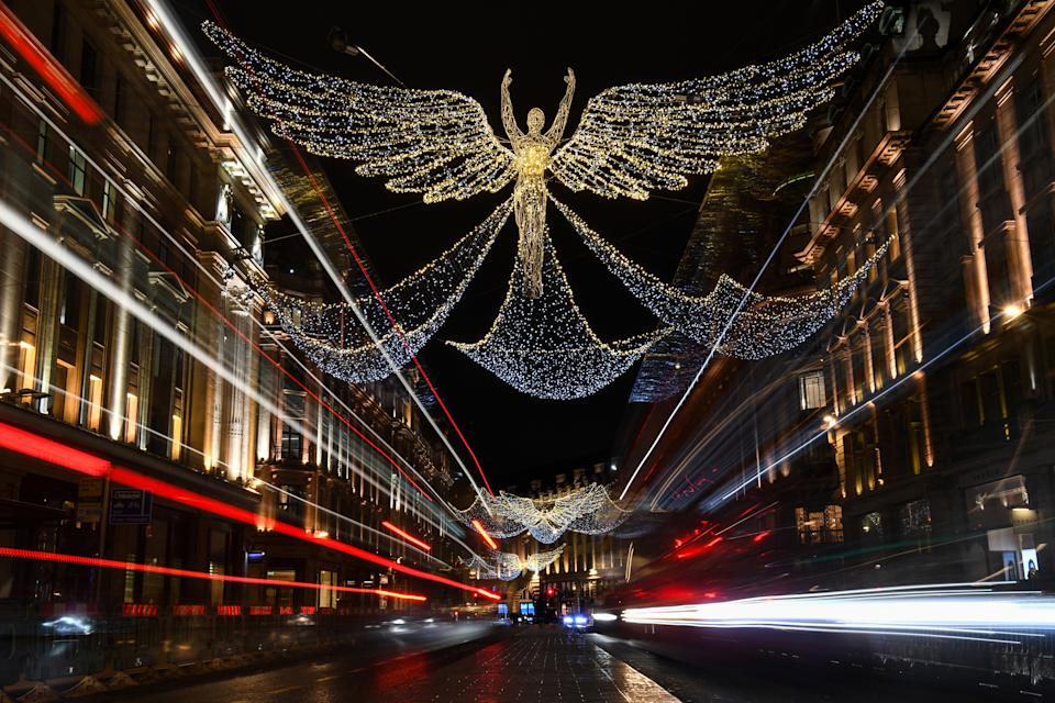 Christmas lights in central London, as England continues a four week national lockdown to curb the spread of coronavirus.