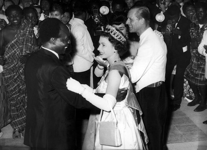 The Queen dances with President Kwame Nkrumah of Ghana during her visit to Accra Ghana in 1961 More