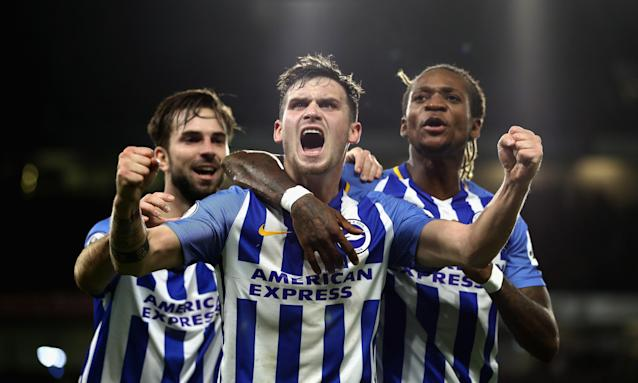 Pascal Gross (centre), pictured celebrating scoring Brighton's first goal against Stoke in November, cost £3m from Ingolstadt in the summer and has registered the most assists of anyone outside the top six.