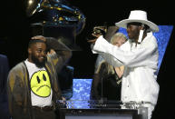 "Calmatic, left, and Lil Nas X accept the award for best music video for ""Old Town Road (Official Movie)"" at the 62nd annual Grammy Awards on Sunday, Jan. 26, 2020, in Los Angeles. (Photo by Matt Sayles/Invision/AP)"