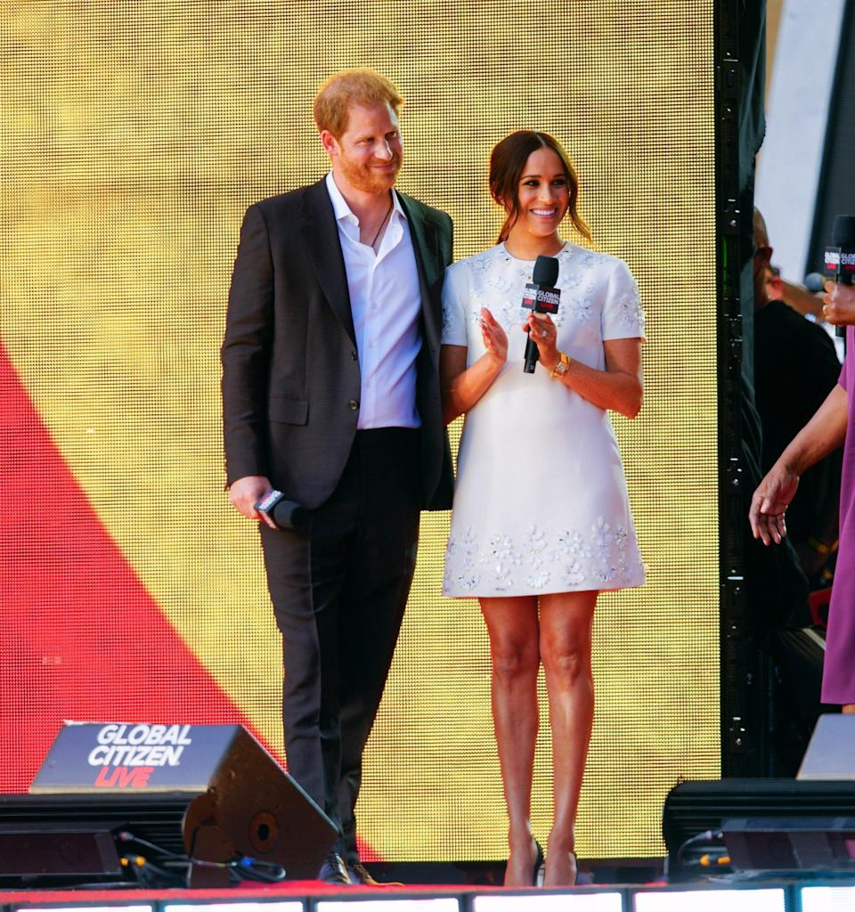 Meghan wore a white Valentino dress to present at Global Citizen Live - Wire\Image