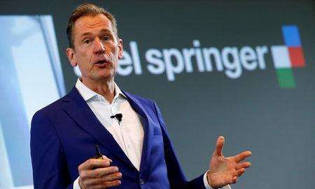FILE PHOTO: Axel Springer CEO Mathias Doepfner delivers a speech at the publisher's annual news conference in Berlin