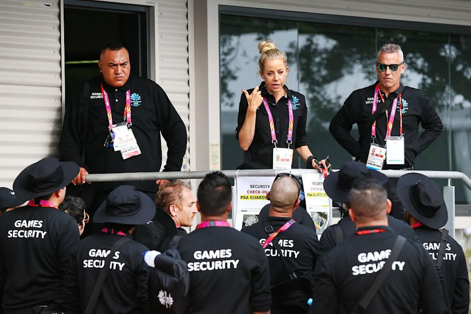 A chat to the security guards ahead of the 2018 Commonwealth Games on April 4, 2018 in Gold Coast, Australia. (Photo: Getty)