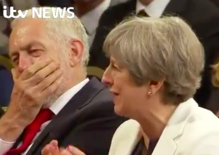 Theresa May made Jeremy Corbyn laugh heartily in Parliament (Twitter)